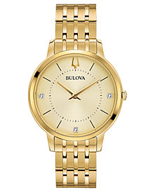Bulova Women's Diamond Dress Diamond Accent Gold-Tone Stainless Steel Bracelet Watch 36mm