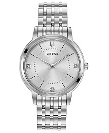Bulova Women's Diamond Dress Diamond-Accent Stainless Steel Bracelet Watch 31mm