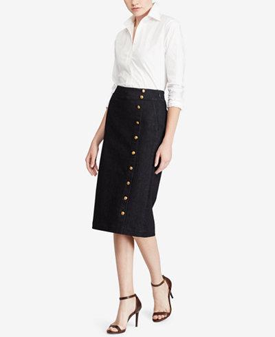 Lauren Ralph Lauren Button-Front Denim Skirt - Skirts - Women - Macy's