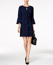 Jessica Howard Petite Bell-Sleeve Ruffled Dress