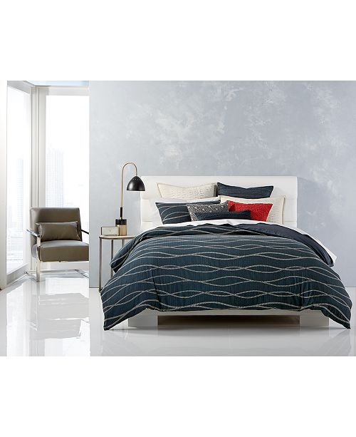 Hotel Collection CLOSEOUT! Modern Wave Cotton Reversible King Duvet ...