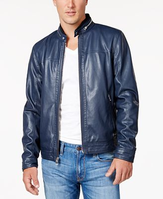 Guess Faux Leather Moto Jacket Coats Jackets Men Macy S
