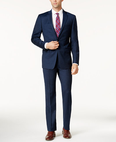 Calvin Klein Men S Extra Slim Fit Blue Flannel Suit