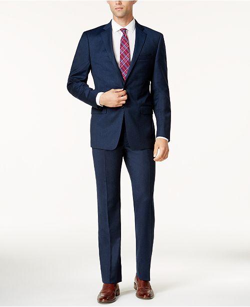 2c83f2a3cc83 Calvin Klein Men s Extra Slim-Fit Blue Flannel Suit   Reviews - Suits ...
