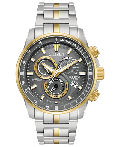 Citizen Eco-Drive Men's Chronograph Perpetual Chrono A-T Two-Tone Stainless Steel Bracelet Watch 43mm