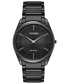 Citizen Eco-Drive Men's Stiletto Black Stainless Steel Bracelet Watch 38mm
