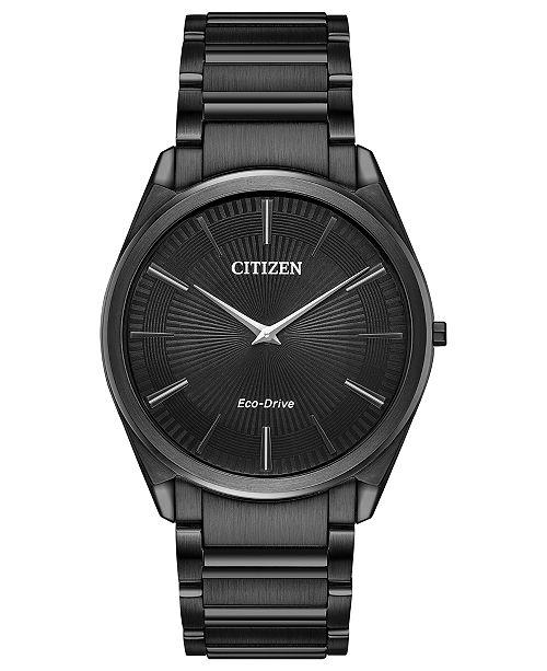 Citizen Eco-Drive Men's Stiletto Black Stainless Steel Bracelet Watch 38mm
