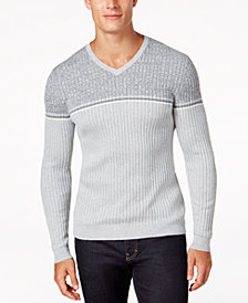 Alfani Men's Texture Stripe V-Neck Sweater, Created for Macy's