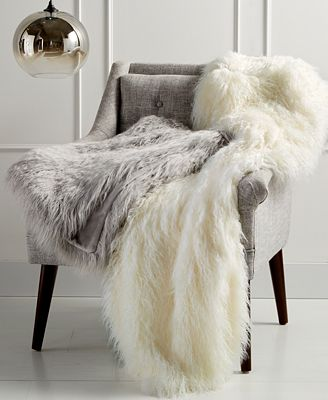 CLOSEOUT! Martha Stewart Collection Faux Mongolian Fur Throw, Created for Macy's