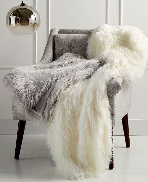 """Martha Stewart Collection CLOSEOUT! Faux Mongolian Fur 50"""" x 60"""" Throw, Created for Macy's"""