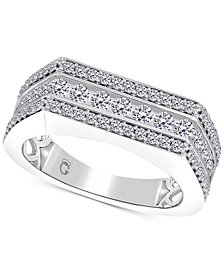 Men's Diamond Row Cluster Ring (1-1/2 ct. t.w.) in 10k White Gold