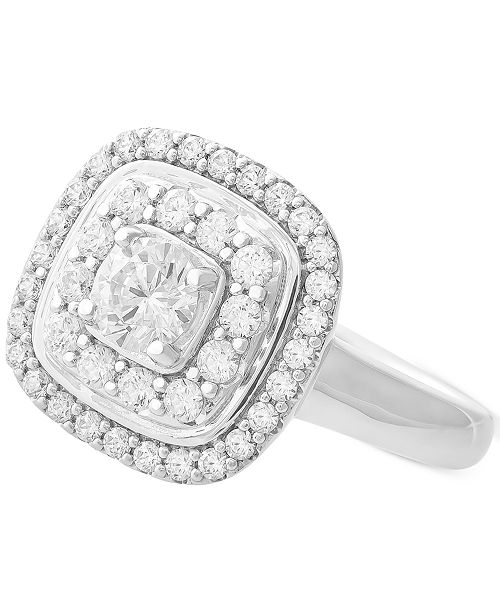 Wrapped in Love Diamond Double Halo Cluster Ring (1 ct. t.w.) in 14k White Gold, Created for Macy's