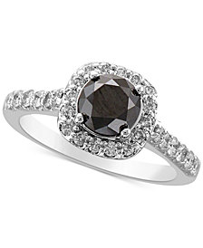 Diamond Halo Statement Ring (2 ct. t.w.) in 14k White Gold