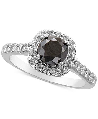 Diamond Halo Statement Ring (2 ct. t.w.) in 14k White Gold