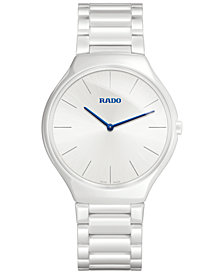 Rado Unisex Swiss True Thinline White Ceramic Bracelet Watch 39mm