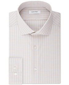Calvin Klein STEEL Men's Slim-Fit Non-Iron Stretch Performance Tan Check Dress Shirt
