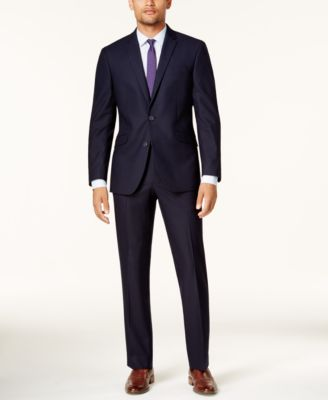 Men's Techni-Cole Navy Shadow Check Slim-Fit Suit
