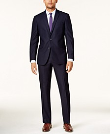 Men's Ready Flex Navy Shadow Check Slim-Fit Suit