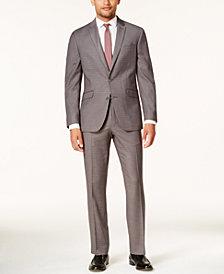 Kenneth Cole Reaction Men's Slim-Fit Gray & Burgundy Plaid Techni-Cole Suit
