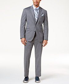 Kenneth Cole Reaction Men's Slim-Fit Medium-Gray Knit Techni-Cole Suit