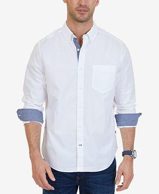 Nautica Men's Classic-Fit Stretch Button-Down Shirt - Casual ...