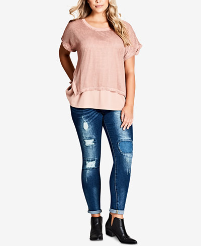 City Chic Trendy Plus Size Mesh-Overlay Top