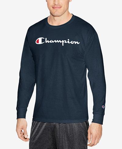 Champion Men's Jersey Long Sleeve Logo T-shirt