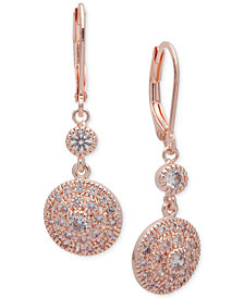 Anne Klein Cubic Zirconia Disc Drop Earrings