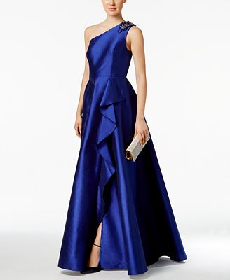 Adrianna Papell Petite One-Shoulder A-Line Gown - Dresses - Petites ...