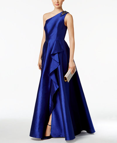 Adrianna Papell Draped One Shoulder Faille Gown Dresses