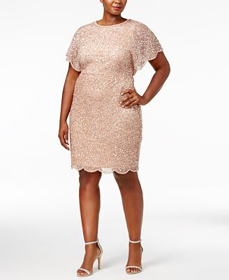 Adrianna Papell Plus Size Beaded Flutter Sleeve Dress Dresses