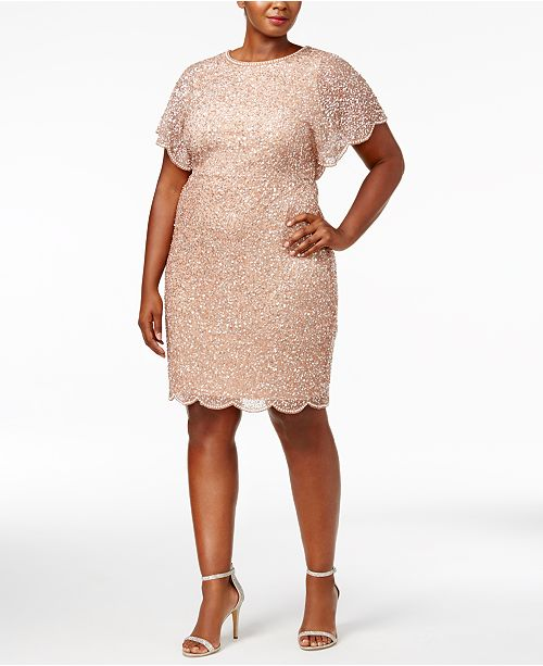 b4dbdc3447b Adrianna Papell Plus Size Beaded Flutter-Sleeve Dress   Reviews ...