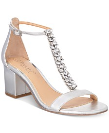 Jewel Badgley Mischka Lindsey Block-Heel Evening Sandals