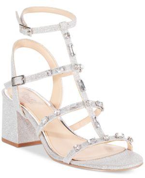 Jewel Badgley Mischka Ana Strappy Block-Heel Evening Sandals Women