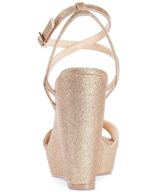 9bb0023f2c7 ... Jewel Badgley Mischka Ambrosia Glittered Wedge Evening Sandals ...