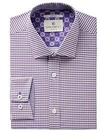 Con.Struct Men's Slim-Fit Stretch Lilac Gingham Dress Shirt