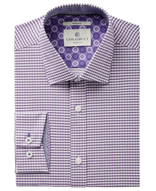ConStruct Con.Struct Men's Slim-Fit Stretch Lilac Gingham Dress Shirt