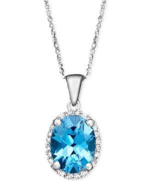 14k White Gold Necklace, Blue Topaz (2 ct. t.w.) and Diamond Accent Oval Pendant