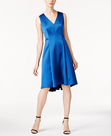 Anne Klein Satin Fit & Flare Dress