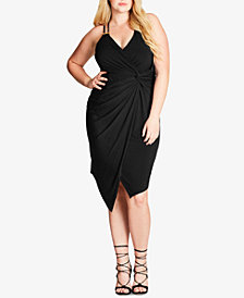 City Chic Trendy Plus Size Faux-Wrap Bodycon Dress