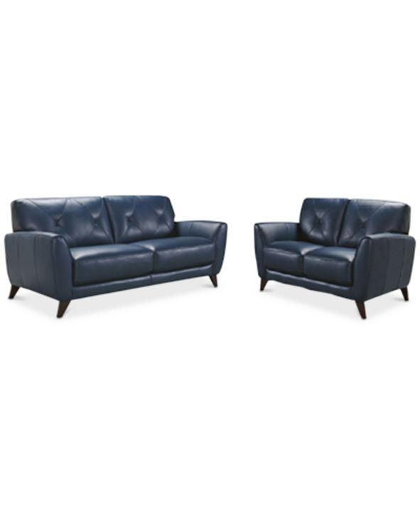 "Furniture Myia 82"" Leather Sofa and 62"" Loveseat Set, Created for Macy's"