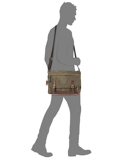 7204154058 Fossil Men s Waxed Canvas Defender Messenger Bag   Reviews - All ...