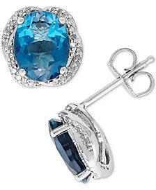 London Blue Topaz (4-3/8 ct. t.w.) & Diamond (1/6 ct. t.w.) Stud Earrings in Sterling Silver