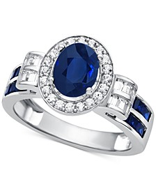 Sapphire (1-1/2 ct. t.w.) & Diamond (3/8 ct. t.w.) Ring in 14k White Gold (Also Available in Emerald & Certified Ruby)
