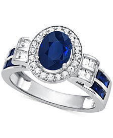 Sapphire (1-1/2 ct. t.w.) & Diamond (3/8 ct. t.w.) Ring in 14k White Gold (Also Available in Emerald & Ruby)