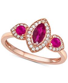 Ruby (3/4 ct. t.w.) & Diamond (1/6 ct. t.w.) Ring in 14k Rose Gold