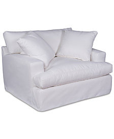 "Brenalee 53"" Performance Fabric Slipcover Chair and 1/2"