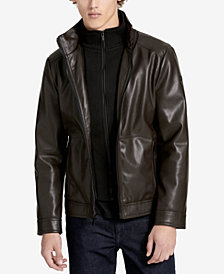 Calvin Klein Men's Faux-Leather Open-Bottom Jacket, Created for Macy's