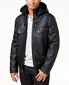 I.N.C. Men's Faux Leather Hooded Bomber Jacket, Created for Macy's