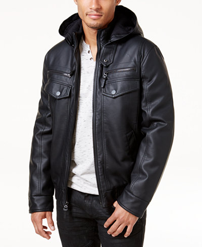 I.N.C. Men's Faux Leather Hooded Bomber Jacket, Created for Macy's ...
